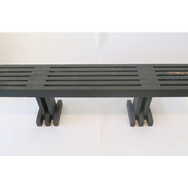 Vintage Gray Wood Slat Bench - Image 3 of 6