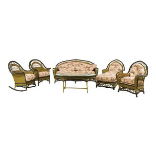 American Art Deco Wicker 6-Piece Living Room Set For Sale