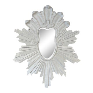 Late 20th Century Shabby Chic Starburst Distressed White Mirror For Sale