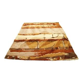 Mid Century Modern Rust Brown Rectangular Danish Rya Shag Area Rug - 6′4″ × 8′2″ For Sale