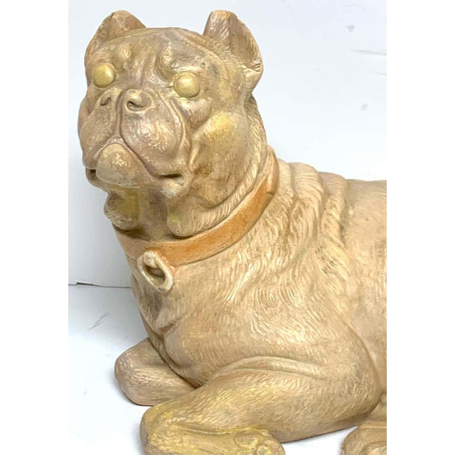Beige Late 19th Century Antique English Terracotta Recumbent Pug Dog For Sale - Image 8 of 10