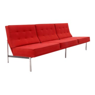 Florence Knoll Parallel Bar Three-Seat Armless Sofa Red Wool Fabric For Sale