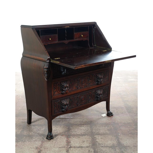 Mahogany R. J. Horner C.1890's Carved Mahogany Drop Desk For Sale - Image 7 of 10