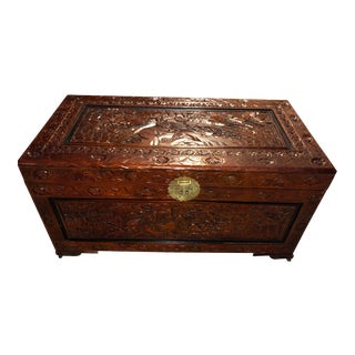 20th Century Chinese Hand Carved Rosewood & Camphor Dowry/Storage Chest For Sale