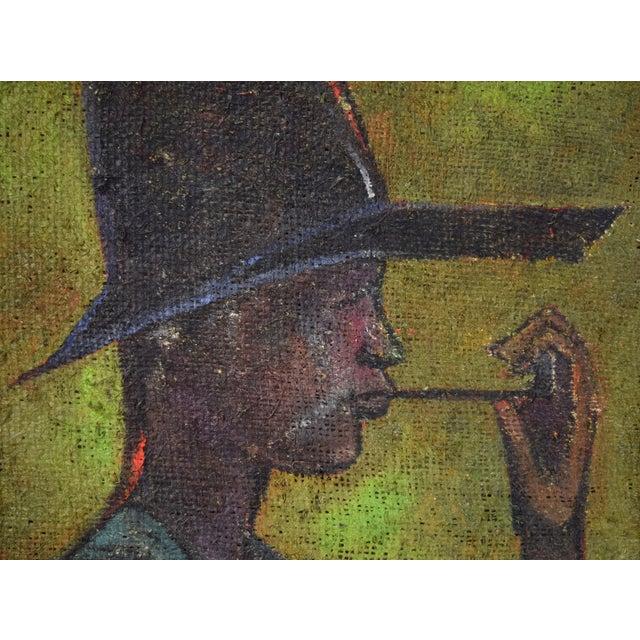 Figurative Vintage Mid-Century Man in Floppy Hat De Buren Haitian Oil Painting For Sale - Image 3 of 8