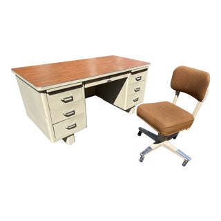 Macdowell and Craig Vintage Metal Desk and Chair Set For Sale