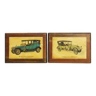 Wooden Rolls Royce & Pierce Arrow Plaques - A Pair For Sale