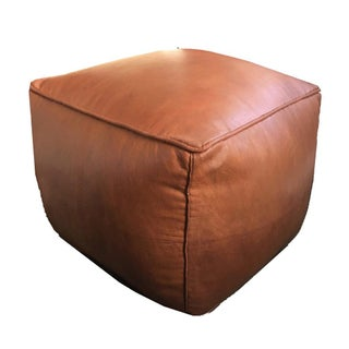 Square Pouf by Mpw Plaza, Brown (Cover) Moroccan Leather Pouf Ottoman Preview