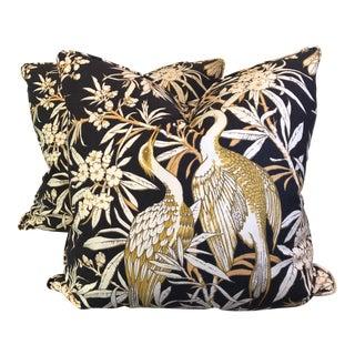 "1960s Vintage Crane Motif 22"" Pillows - a Pair"