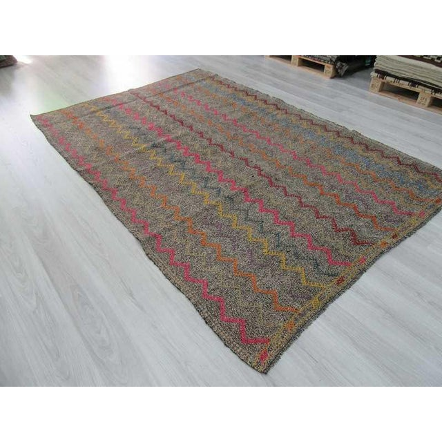 Vintage Turkish Kilim Embroidered Decorative Rug - 6′2″ × 9′3″ For Sale In Los Angeles - Image 6 of 6