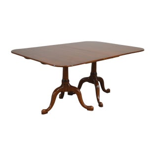 Henkel Harris Solid Cherry Traditional Double Pedestal Dining Table W/ 3 Leaves For Sale
