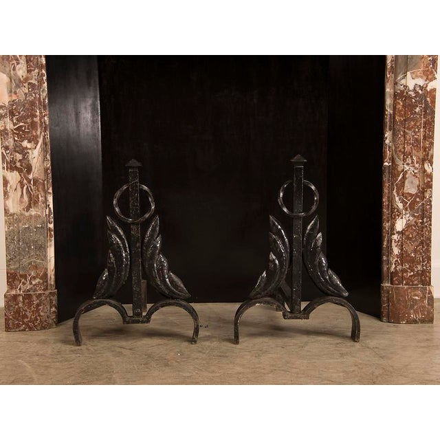 Vintage French Modernist Hand Forged Fireplace Andirons Circa 1940 For Sale In Houston - Image 6 of 6