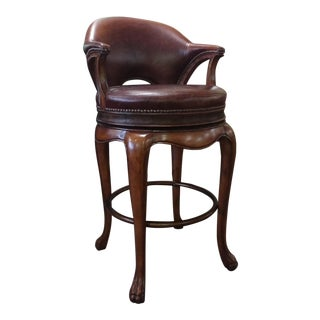 Modern Thomasville Furniture Ernest Hemingway Kenyan Leather Swivel Barstool For Sale