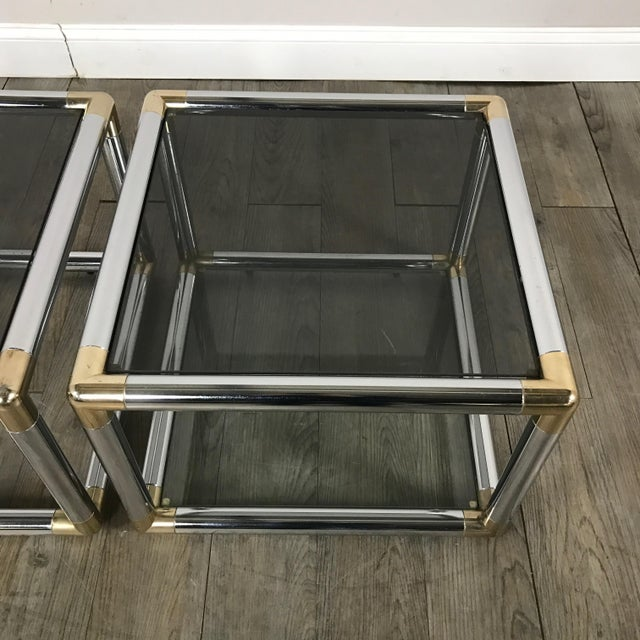 Mid-Century Modern Chrome Boxed End Tables Set - Image 5 of 11