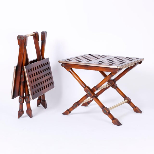 British Colonial Yacht Style Folding Tables - A Pair For Sale - Image 3 of 10