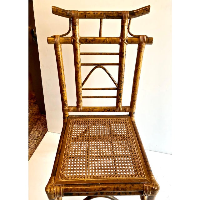 Asian Chinoiserie Pagoda-Back Side Chairs, Set of 4 For Sale - Image 3 of 6