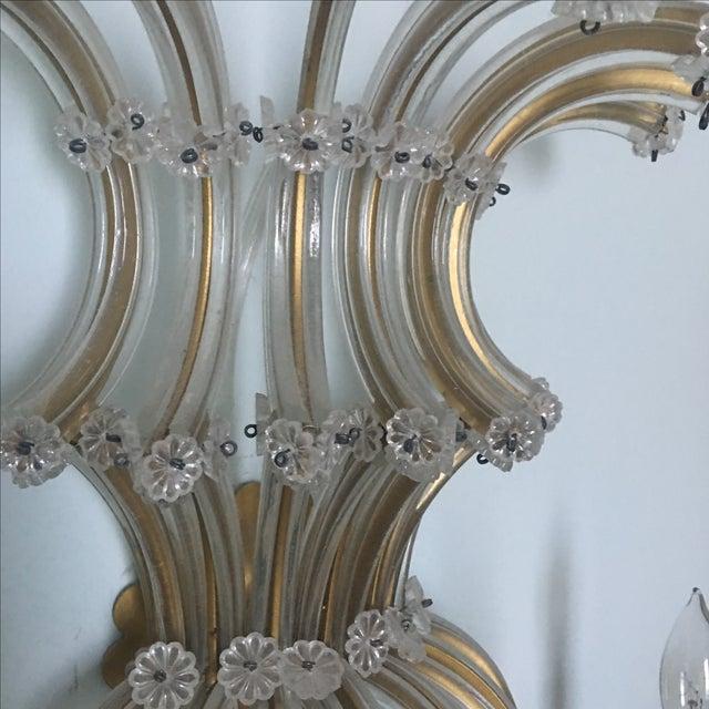 Hollywood Regency Vintage 11 Light Large Crystal Sconce For Sale - Image 3 of 7