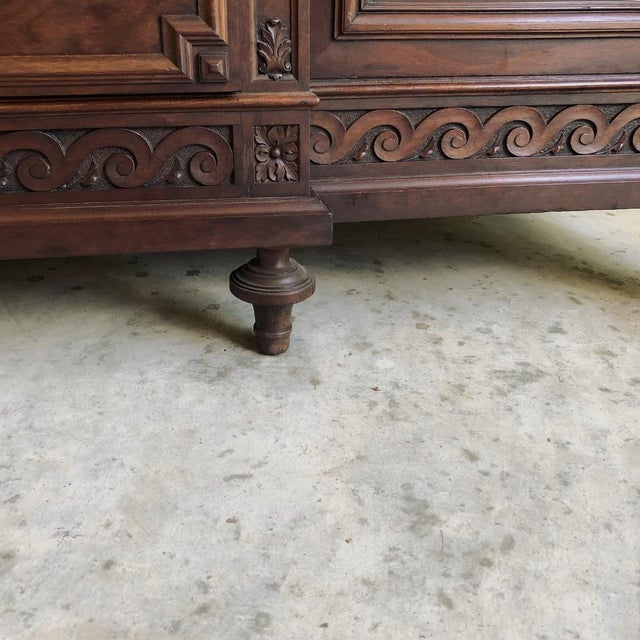 19th Century French Louis XVI Mueche Mahogany Marble Top Dresser ~ Cabinet For Sale In Dallas - Image 6 of 13
