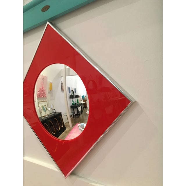 Carvers Guild Convex Mirror of Red Lucite and Chrome - Image 7 of 8