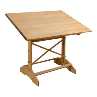 Vintage Wooden Drafting Table - Adjustable in Height and Pitch!