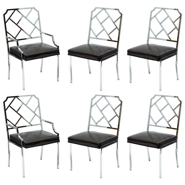 1970s Vintage Milo Baughman for Dia Chrome Lattice Back Dining Chairs- Set of 6 For Sale - Image 9 of 9