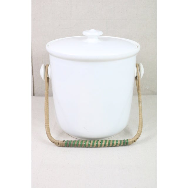 """A highly unusual French ironstone covered bucket with its original rattan handle. It bears the maker's mark of """"Digoin et..."""