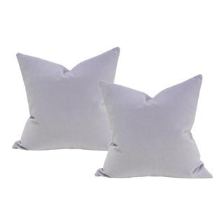 "Light Purple Velvet Pillow Covers - a Pair 18"" Sq For Sale"