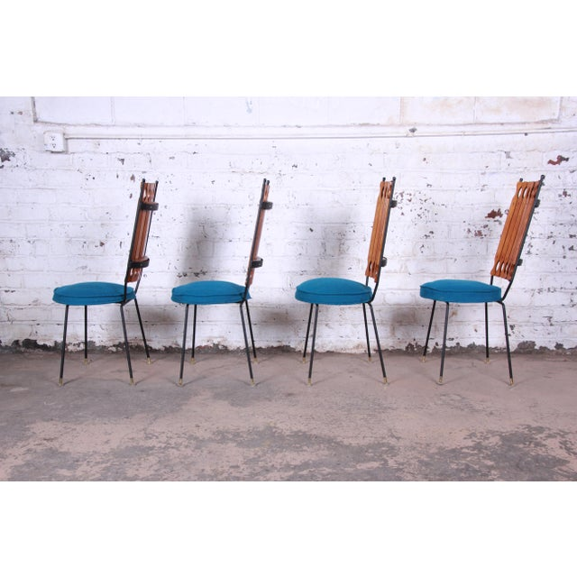 Adirondack Arthur Umanoff for Shaver-Howard Mid-Century Modern High Back Dining Chairs - Set of 4 For Sale - Image 3 of 9