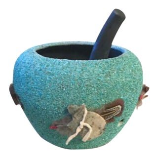 Native American Turquoise Encrusted Fetish Pot