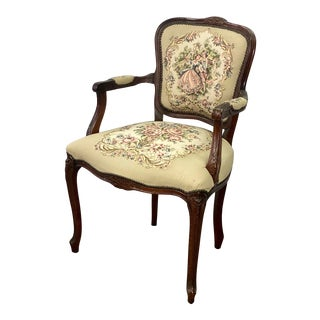 Vintage Louis XV Courting Couple Tapestry Fauteuil Armchair For Sale
