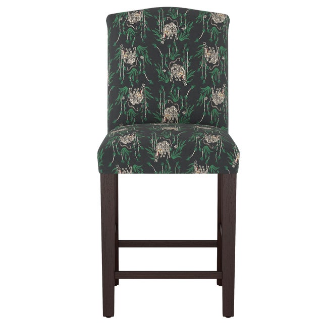 Camel Back Counter Stool in Tiger Bamboo Ink Oga For Sale