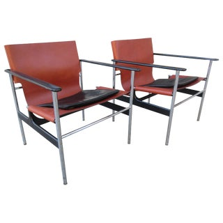 Charles Pollack for Knoll Model 657 Leather Sling Chairs - a Pair For Sale