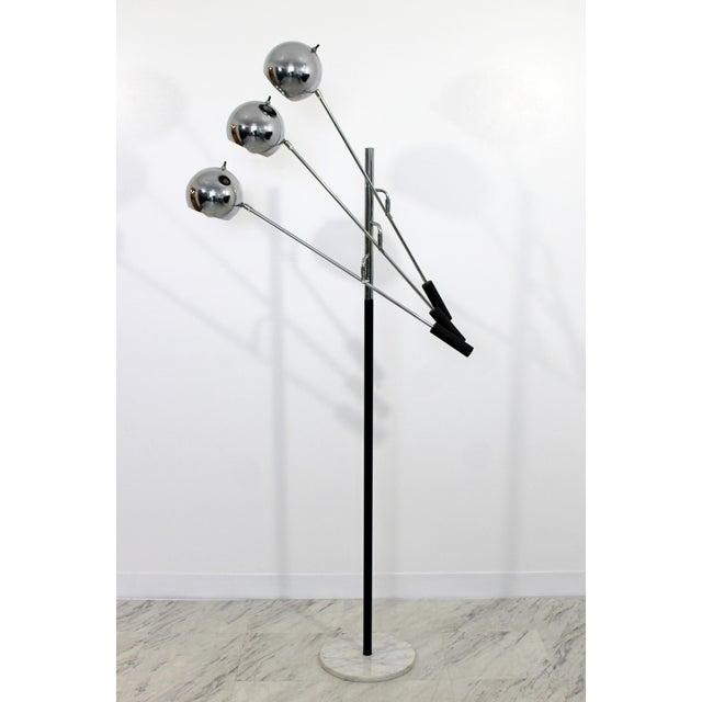 Mid-Century Modern Mid Century Modern Robert Sonneman Chrome & White Marble 3 Arm Floor Lamp 1970s For Sale - Image 3 of 9