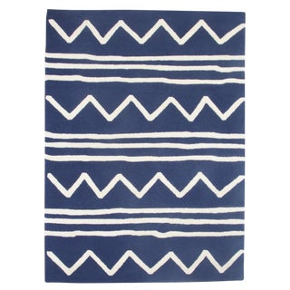 Navy Bold Pattern Wool Rug - 4′ × 6′