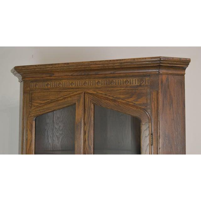 Brown Ethan Allen Royal Charter Oak Corner Cabinet For Sale - Image 8 of 13