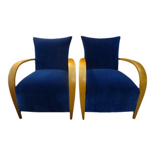 Pair of French Lounge Chairs in the Manner of André Arbus For Sale