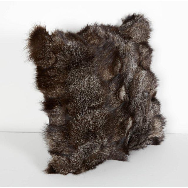 Contemporary Genuine Fox Fur Luxury Throw Pillows in Variant Hues of Gray For Sale - Image 3 of 6