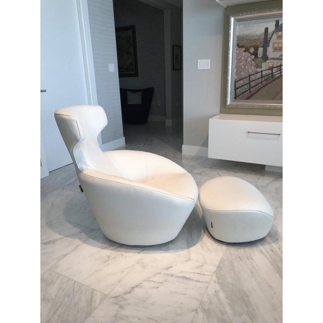 Animal Skin Edito Swivel Lounge Chair in White Leather by Roche Bobois For Sale - Image 7 of 13