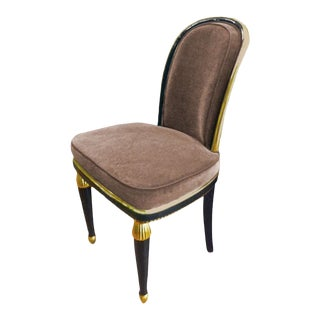 Paul Follot 1925 Superb Black and Gold Leaf Lady Chair Newly Reupholstered For Sale