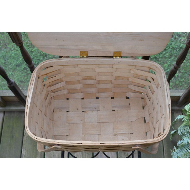 Blueberry Wooden Picnic Basket For Sale In Atlanta - Image 6 of 8