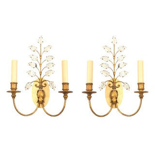 French 1940s Gilt Metal Wall Sconces by Baguès - a Pair For Sale
