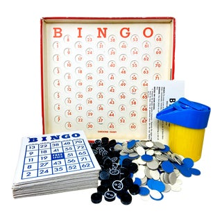 Vintage Mid Century Complete Bingo Game – a Collection of 300+ Pieces For Sale