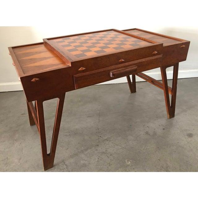 Mid Century Danish Modern Teak Game Table For Sale In Phoenix - Image 6 of 9