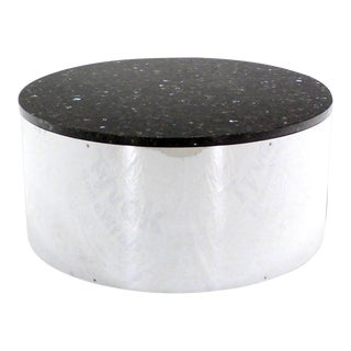 Round Chrome and Granite-Top Coffee Table For Sale