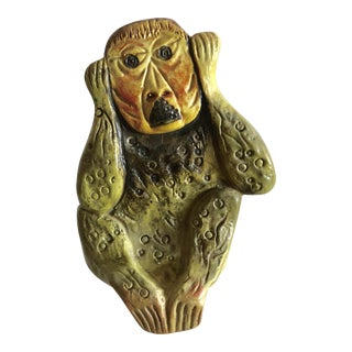 1950s Mid Century Hear No Evil Seated Monkey Ceramic Sculpture by Marcel Fantoni For Sale