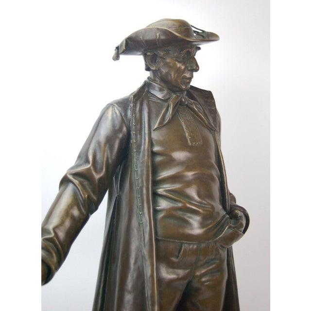 Biedermeier 1887 Austrian Bronze Genre Statue of Man in Duster Coat W Cane and Bush Hat For Sale - Image 3 of 7
