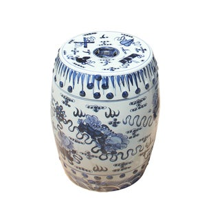 Chinese Blue & White Porcelain Foo Dogs Round Stool Table For Sale