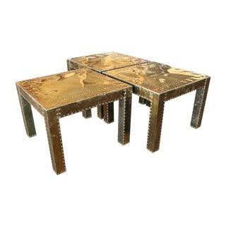 Brass-Clad Sarreid Style Tables - Set 3 For Sale