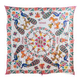 1960s Vintage Handmade Indian Wedding Tapestry For Sale