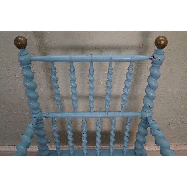 Blue Antique Barley Twist Arm Chair Merklen Brothers - Image 5 of 10